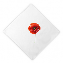 Red Flower Art Painting Corn Poppy Simplicity Dinner Napkins Lunch White Reusable Cloth 2pcs