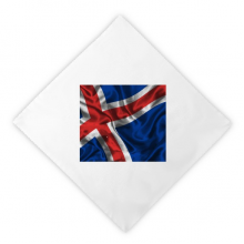 Silk Texture Iceland Abstract Flag Pattern Dinner Napkins Lunch White Reusable Cloth 2pcs