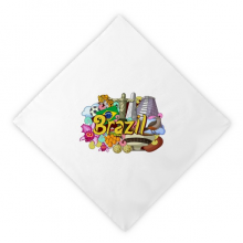 Soccer Oscar Niemeyer Brazil Graffiti Dinner Napkins Lunch White Reusable Cloth 2pcs