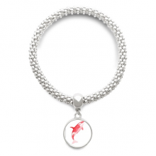 IUCN Endangered Animals Red Killer Whale Sliver Bracelet Pendant Jewelry Chain Adjustable Bangle