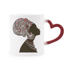 African Black Women Aboriginal Headdress Heat Sensitive Mug Red Color Changing Stoneware Cup
