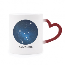 Aquarius Constellation Zodiac Sign Heat Sensitive Mug Red Color Changing Stoneware Cup
