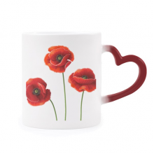 Art Painting Corn Poppy Red Flowers Morphing Mug Heat Sensitive Red Heart Cup