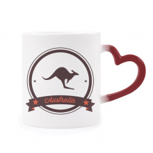 Australia Flavor Kangaroo Emblem Illustration Morphing Mug Heat Sensitive Red Heart Cup