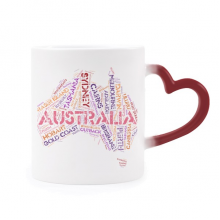 Australia Flavor Map Scenic Spots Illustration Heat Sensitive Mug Red Color Changing Stoneware Cup