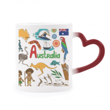 Australia Landscape Animals National Flag Morphing Mug Heat Sensitive Red Heart Cup
