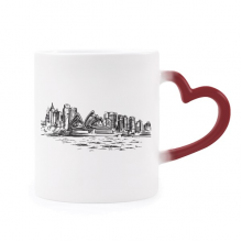 Australia Sydney Opera House Sketch Heat Sensitive Mug Red Color Changing Stoneware Cup