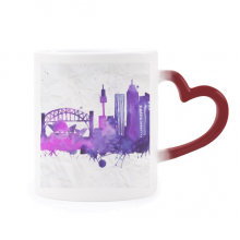 Australia Sydney Opera House Watercolor Heat Sensitive Mug Red Color Changing Stoneware Cup