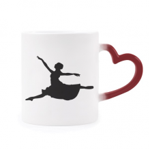 Ballet Jumping Performance Dancer Heat Sensitive Mug Red Color Changing Stoneware Cup
