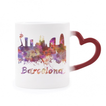 Barcelona Spain  City Watercolor Heat Sensitive Mug Red Color Changing Stoneware Cup