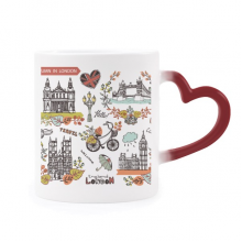 Big Ben Buckingham London England Morphing Mug Heat Sensitive Red Heart Cup