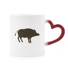 Black Boar Cute Animal Portrayal Morphing Mug Heat Sensitive Red Heart Cup