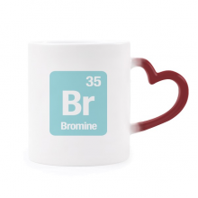 Br Bromine Chemical Element Science Morphing Mug Heat Sensitive Red Heart Cup