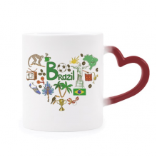 Brazil Love Heart Landscap National Flag Morphing Mug Heat Sensitive Red Heart Cup