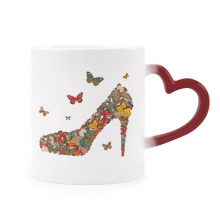 Butterfly and High Heel Shoes Morphing Mug Heat Sensitive Red Heart Cup