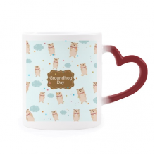 Canada and US Flavor Groundhog Day Morphing Mug Heat Sensitive Red Heart Cup