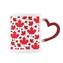 Canada Flavor Leaves Canadian Maple Flag Morphing Mug Heat Sensitive Red Heart Cup