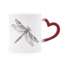 Dragonfly Animal Portrait Sketch Morphing Mug Heat Sensitive Red Heart Cup