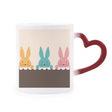 Easter Religion Festival Cute Bunny Culture Morphing Mug Heat Sensitive Red Heart Cup