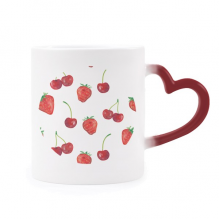 Red Strawberry Fruit Illustration Pattern Morphing Mug Heat Sensitive Red Heart Cup