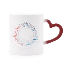 Round-Shaped Red Blue Music Notes Morphing Mug Heat Sensitive Red Heart Cup