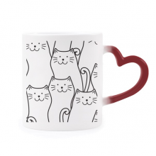 Smiling Cat Protect Animal Pet Lover Morphing Mug Heat Sensitive Red Heart Cup