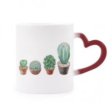 Succulents Cactus Potted Plant Illustration Morphing Mug Heat Sensitive Red Heart Cup