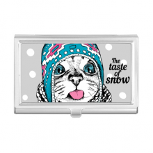Cat Head The Taste Of Snow Cat Protect Animal Pet Business Card Holder Case Pocket Box Wallet
