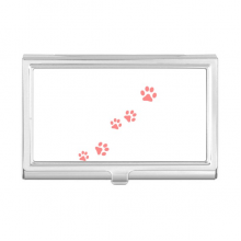 Cat Mewing Animal Pink Footprint Art Paw Print Business Card Holder Case Wallet