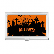 Horror Night Cemetery Halloween Business Card Holder Case Wallet