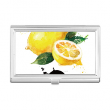 Lemon Fruit Tasty Healthy Watercolor Business Card Holder Case Wallet