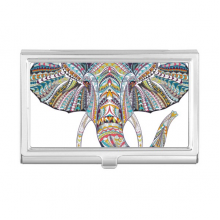 Mosaic Style Colorful Elephant Design Business Card Holder Case Wallet