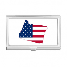 Oregon USA Map Stars Stripes Flag Business Card Holder Case Wallet