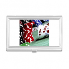 Scattered Poker Gambling Photo Chips Business Card Holder Case Wallet