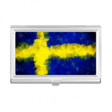 Swedish Abstract Flag Pattern Business Card Holder Case Wallet