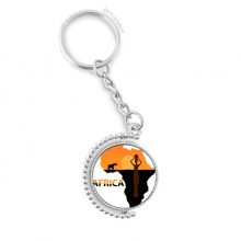 Africa Map Savanna Elephant Wildlife Rotatable Key Chain Ring Keyholder