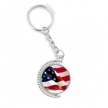 Air Brushing Stars And Stripes America Flag Rotatable Key Chain Ring Keyholder