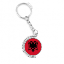 Albania National Flag Europe Country Rotatable Keyholder Ring Disc Accessories Chain Clip
