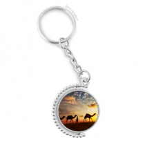 All the Way to the Silk Road Camel Desert Rotatable Key Chain Ring Keyholder