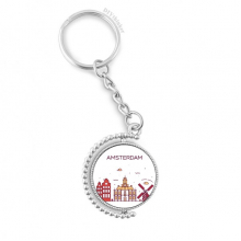 Amsterdam Flat Landmark Rotatable Key Chain Ring Keyholder