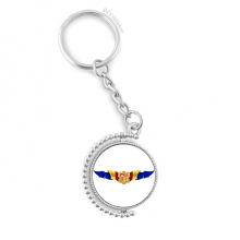 Andorra Flag National Emblem Rotatable Key Chain Ring Keyholder