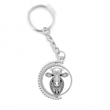 Animal Big Cow Picture Rotatable Key Chain Ring Keyholder