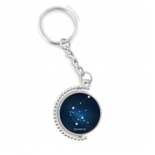 Aquarius Constellation Zodiac Sign Rotatable Key Chain Ring Keyholder