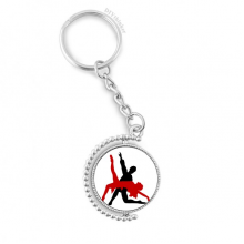 Art Duet Dance Social Dancing Rotatable Key Chain Ring Keyholder