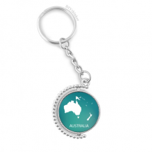 Australia Oceania Continent Silhouette Map Rotatable Key Chain Ring Keyholder