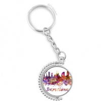 Barcelona Spain  City Watercolor Rotatable Key Chain Ring Keyholder