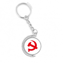 Chinese Communist Badge Red Symbol Rotatable Key Chain Ring Keyholder