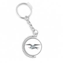 Geometric Abstract Crow Origami Pattern Rotatable Key Chain Ring Keyholder