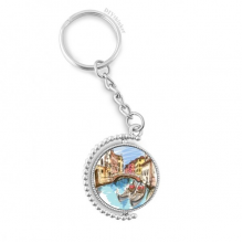 Italy Venice Landscape Watercolour Painting Rotatable Key Chain Ring Keyholder