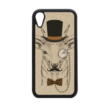 British Style Gentle Beard Deer Hat Bow Tie Animal for iPhone XR iPhonecase Cover Apple Phone Case